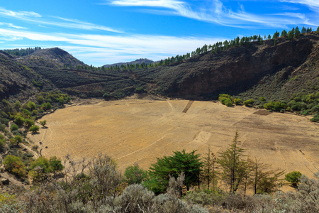 Volcano caldera in mountains on Gran Canaria.