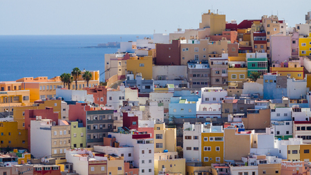 View from above on Las Palmas, the capital city of Gran Canaria Island.