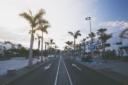 Spain, Canary Islands, Tenerife, Las Americas - May 23, 2018: Avenue las Americas in Playa de la Americas on Tenerife, Canary Islands in Spain.