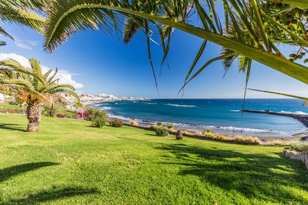 Torviscas beach on costa Adeje in Tenerife Island.