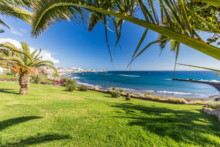 Torviscas beach on costa Adeje in Tenerife Island.