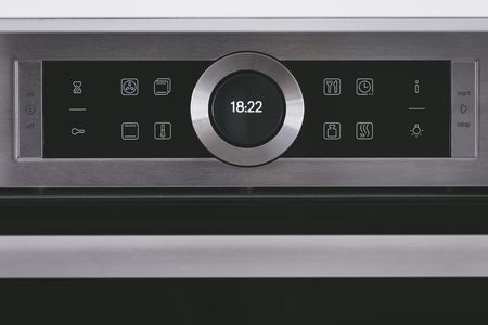 Steel modern touching panel of house electric oven. Reklamní fotografie