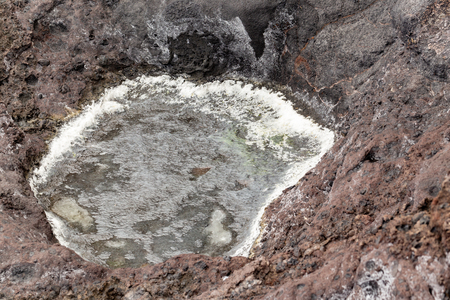 Small sea salt concentrate puddle on rocky ground.