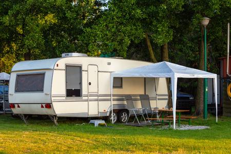 Caravan in nature. Stock Photo