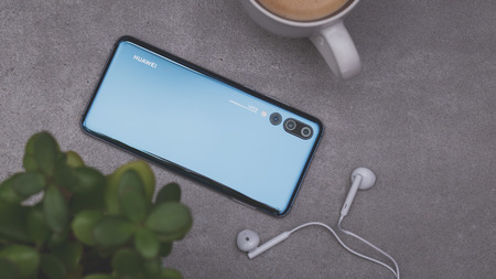 Warsaw, Poland - October 07,2018: Smartphone Huawei P20 Pro in blue colour. Editorial