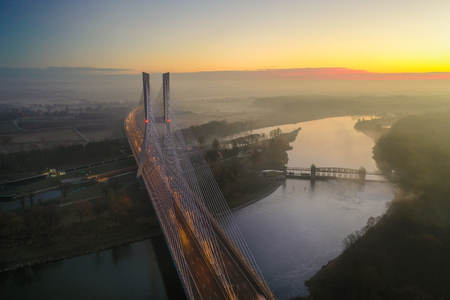 Spectacular view from drone on Redzinski Bridge in Wrocław, Poland. Stockfoto