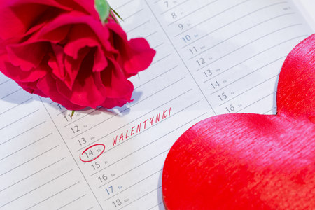 Marked the Valentines day on calendar with rose and heart. Polish name of Valentines. Stock Photo