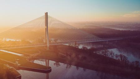 Modern architecture of  Redzinski bridge in Wroclaw, Poland. Stock Photo