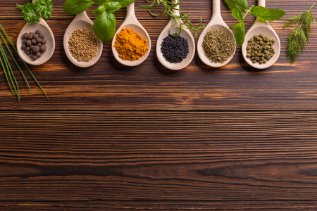 Mixed spices and herbs on wooden spoons with copy space.