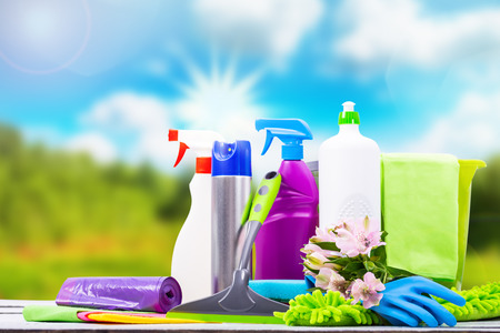 Cleaning concept of cleaning supplies needed to spring cleaning. Stock Photo