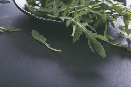 Arugula leaves isolated on black