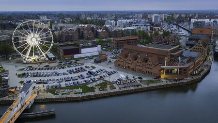 Aerial view on Motlawa river in Gdansk with amber sky wheel.