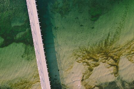 Aerial view on pier in Gdynia Orlowo.