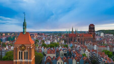 Aerial view to old town in Gdansk. Stock Photo