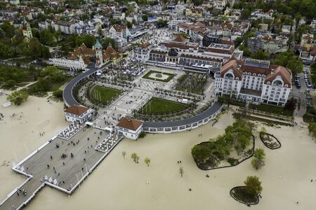 Aerial view onto famous pier in Sopot, Poland baltic sea. 版權商用圖片