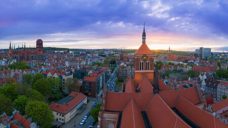 Aerial view on roof of church and part of old town in Gdansk. Stock Photo