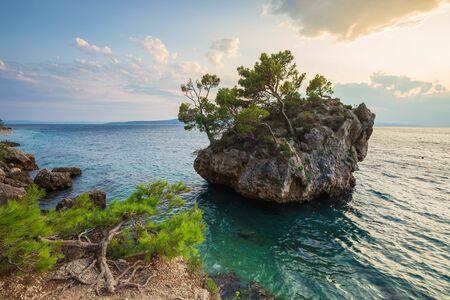 Brela Stone (Kamen Brela), symbol of Brela, a popular natural attraction, Makarska riviera of Dalmatia, Croatia.