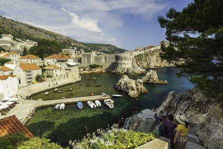 Beautiful landscape of coastline of Dubrovnik, the most famous tourist city in Croatia.