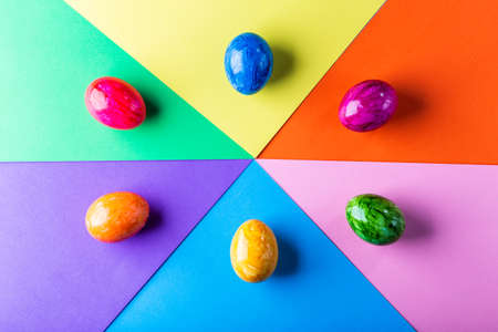 Multicolor geometric background with easter eggs.