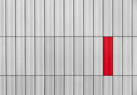 Gray outside wall with a red rectangle Stock Photo