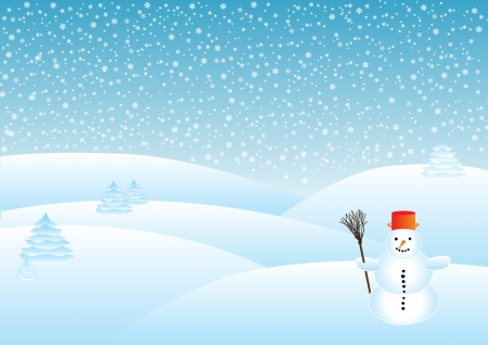 snowy landscape in the snow, snowman in the foreground Stock Photo - 16317059
