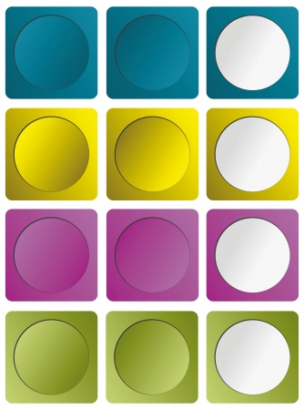 Four color buttons in three positions Stock Vector - 16421282