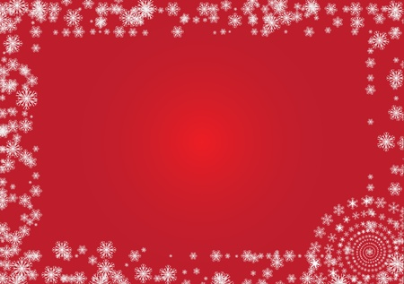 White frame from white flakes, red background Stock Vector - 16665831