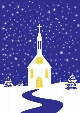 Romantic Christmas church of snowy landscape, vertical Stock Vector - 16665830
