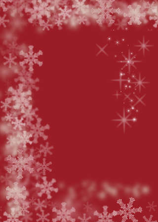 Magic Christmas red background with white snowflakes and stars photo