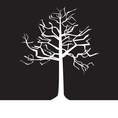 black and white trees on a negative background, silhouette, spring Illustration