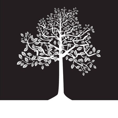 black and white trees on a negative background, silhouette, summer Stock Vector - 16730414