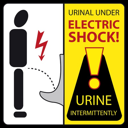 choc �lectrique: autocollant dr�le - urinoir sous le choc �lectrique - urine intermittente