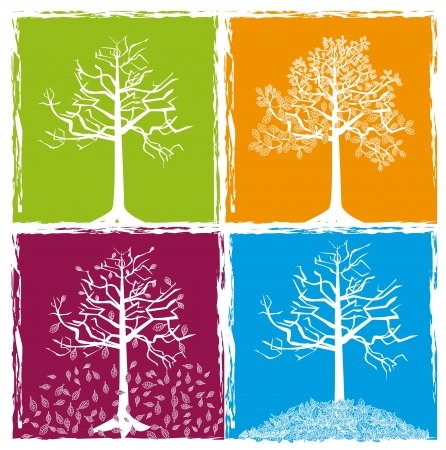 cuatro elementos: concepto de s�mbolos, primavera, verano, oto�o, invierno Vectores