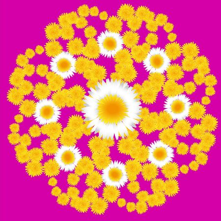 dandelion floral pattern on a pink background with daisies Stock Vector - 16936355