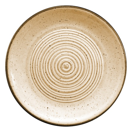 circles on a ceramic tray, yellow color on a white background Imagens