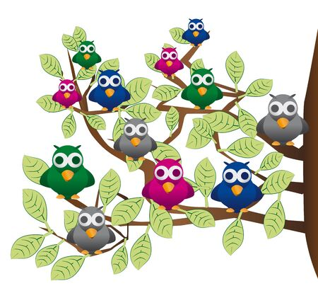 a flock of colorful birds on a tree in spring Stock Vector - 17332290