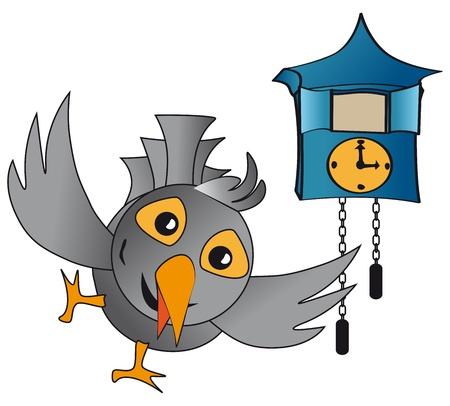 clockface: pop out cuckoo clocks, clocks with blue-gray bird Illustration