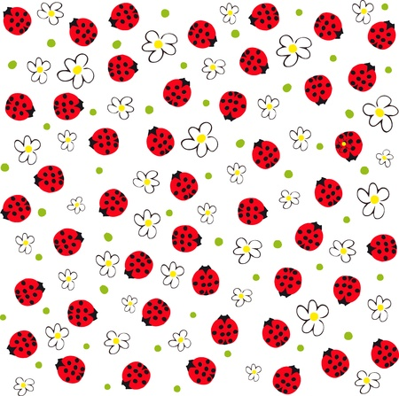 red ladybugs and flowers, spring background Vector