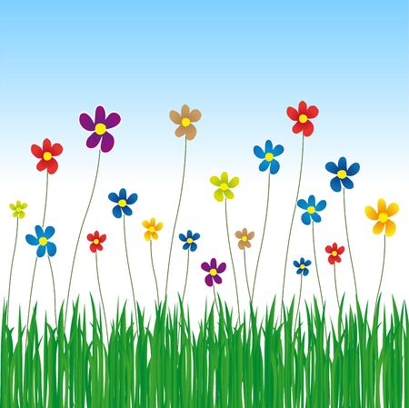 spring meadow full of flowers and grass with blue sky Stock Vector - 17991268