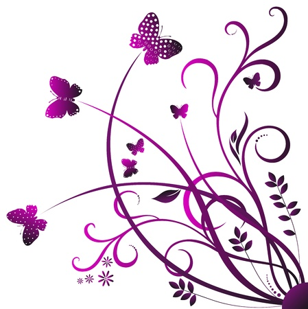 purple swirls: swirling red flowers, plants contours on a white background