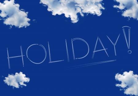 sky line: holiday inscription on a blue sky, line of aircraft