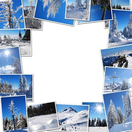 winter photos: Frame photos of winter mountain on a white background Stock Photo