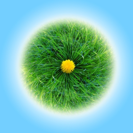 bright green planet made of grass, with a blue background and dandelions photo