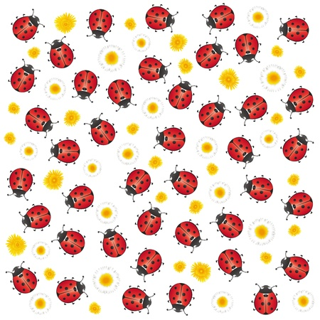 red ladybugs and flowers, spring background Illustration