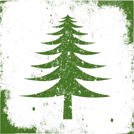 arbre     ? � feuillage persistant: Symbole arbre � feuilles persistantes craqu� avec un cadre en lambeaux