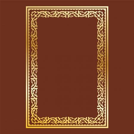 Semplice cornice d'oro su sfondo marrone, ricci e onde Archivio Fotografico - 22112971