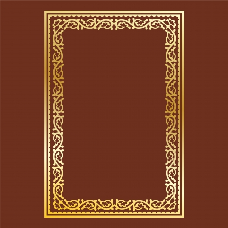 simple gold frame on brown background, curls and waves Ilustração
