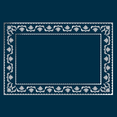 simple silver frame on a blue background, curls and waves Vector