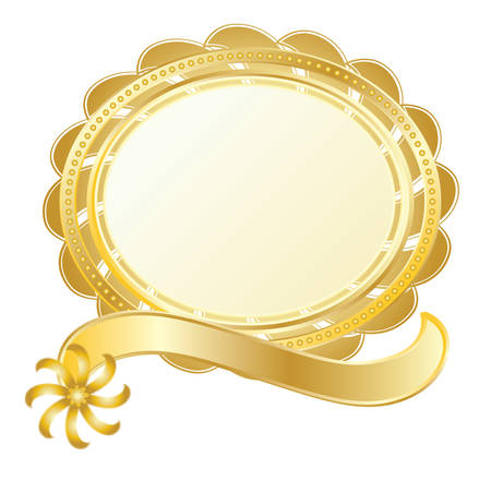 glistening: gold seal on white, glistening, quality label