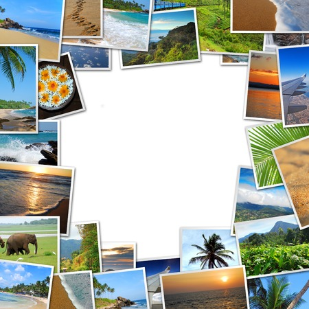 frame of travel photos on white background, with the scent of faraway places photo